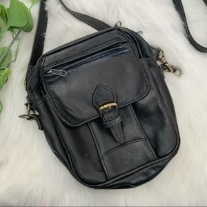 Ellington | Vintage Black Leather Travel Crossbody